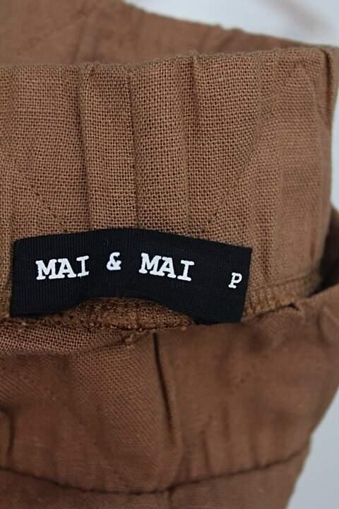 Calça de tecido mai e mai feminina marrom_foto de detalhe