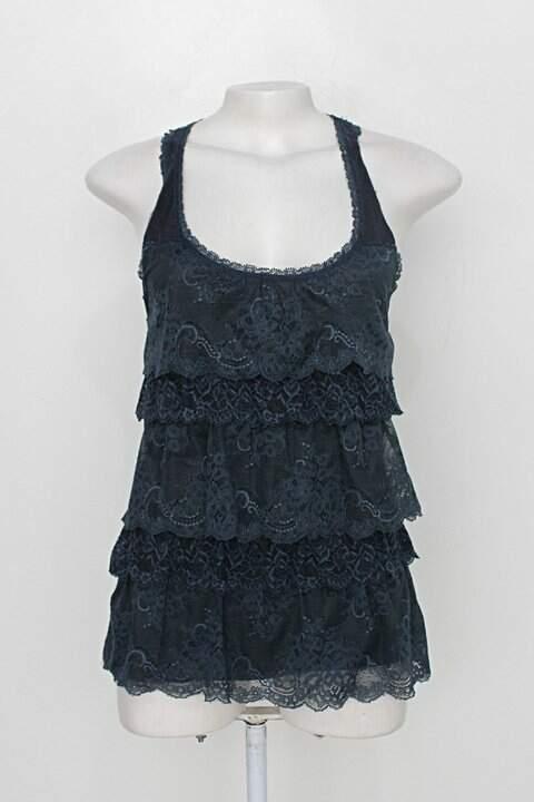 Blusa abercrombie & fitch feminina azul com Renda_foto principal