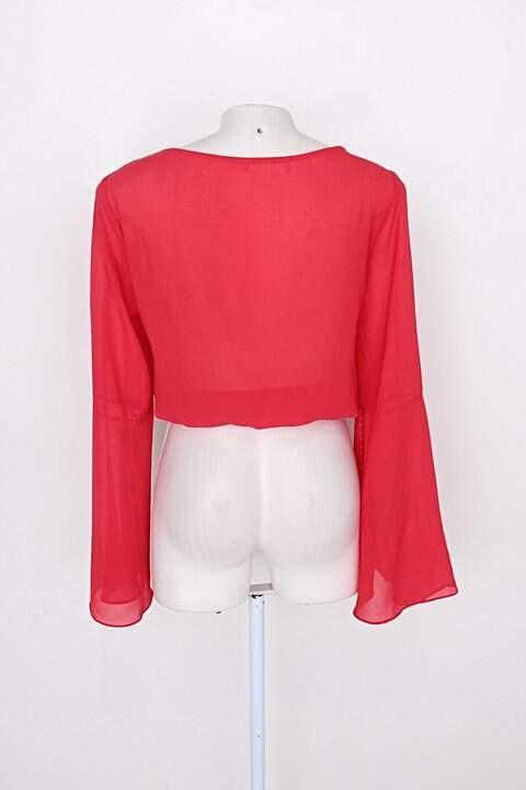 Cropped manga longa feminino vermelho_foto de costas