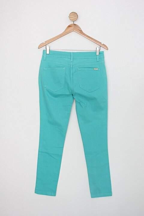 Calça de sarja di collani feminina verde_foto de costas