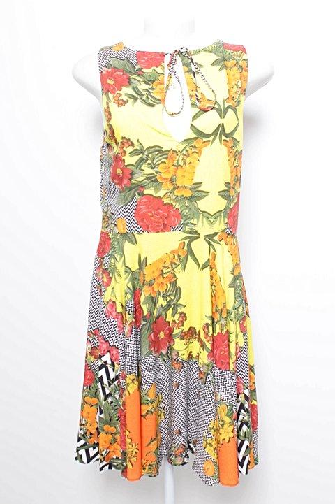 Vestido Rodado Florido e Listrado_foto de frente