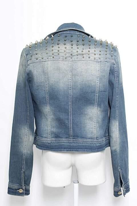 Jaqueta Jeans Spikes Renner_foto de frente