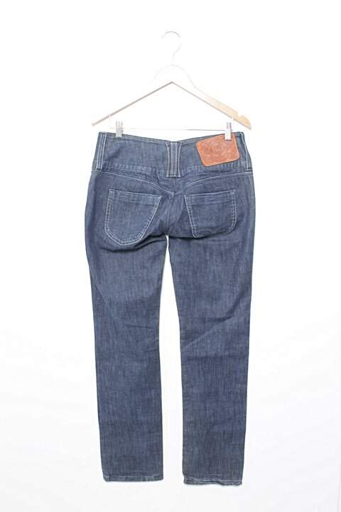 Calça De Cós Alto Jeans Carmim_foto de frente