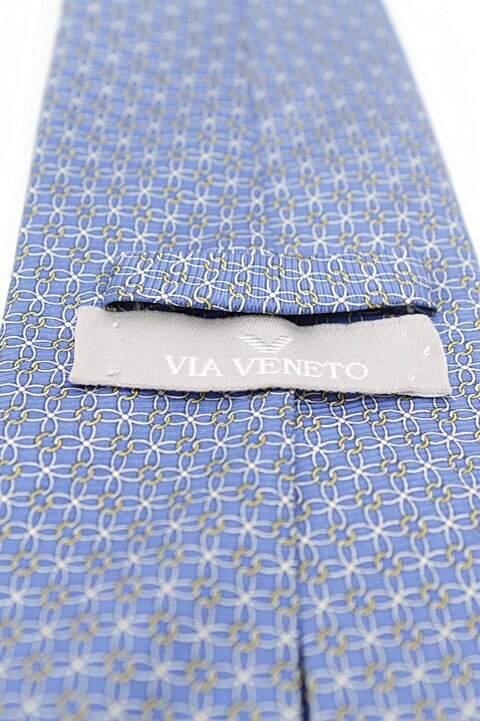 Gravata Estampada Azul Via Veneto_foto de costas