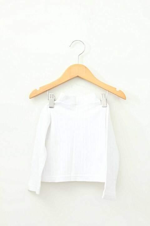 Blusa Infantil Branca Malha Canelada_foto de frente
