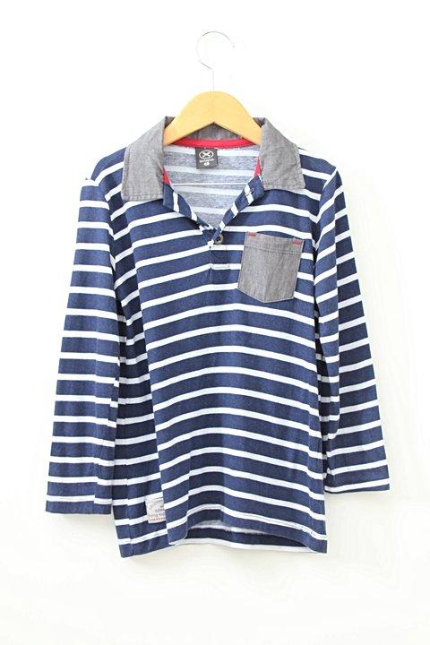 Camiseta Hering Listras Gola Cinza _foto principal