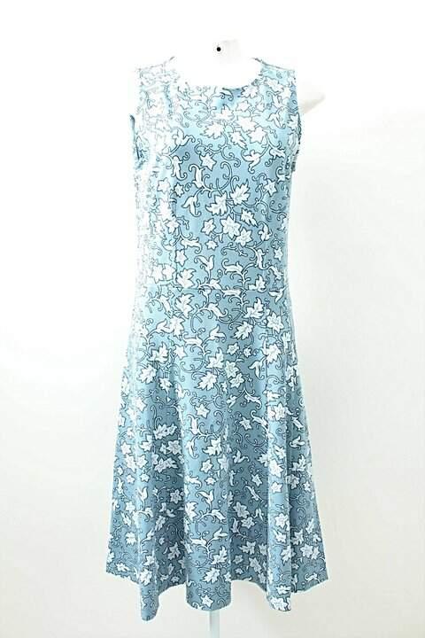 Vestido Evasê Estampado Azul Casual Street_foto principal