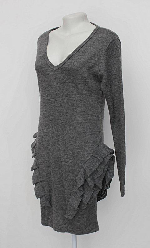 Vestido de malha cinza com Babado_foto de costas
