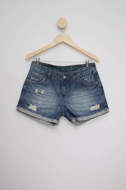 Shorts jeans destroyed azul polo wear_foto principal