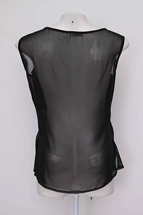 Regata de chiffon preta barred's com Transparência_foto de costas