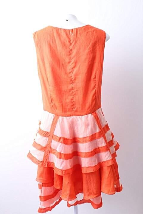 Vestido Aurea Prates Coral - TAM P._foto de costas